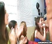 Horny College girls stroking big dicks