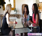 Two ebonies and blonde milf lesbo sex