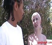 Blonde babe enjoyed many big black dicks