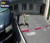 Car towed redhead blowjob sucking oral