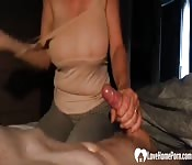 MILF with big tits likes a sticky dick