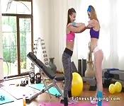 Lesbian fitness instructor licks pussy