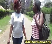 Busty African lesbians taking hot shower