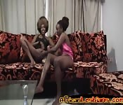 Ebony babes toy each other's wet cunts