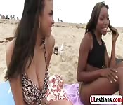 Black as ebony hottie tongues busty gf