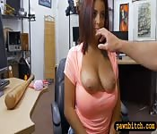 Lovely woman nailed by horny pawn keeper