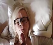 Cum all over hot woman with glasses