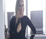 Bdsm couple submiting blonde artist