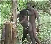 Coppia ebano sporcacciona nella giungla