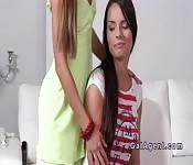 Lesbians riding vibrator in casting