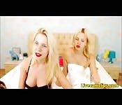 Blonde lesbians preparing for some amateur stripte