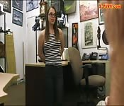Amateur with glasses railed by pawn dude