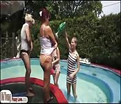 Teens n grannys outdoor lesbian foursome