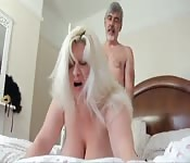 Older lovers fuck in their bedroom