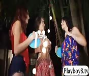 Three teen whores get screwed outdoors