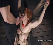 Busty slave anal and pussy fucked