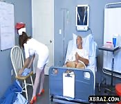 Big ass nurse rides patients big dick