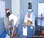 Big ass nurse rides patients big dick