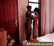 Two ebony lesbians and yellow dildo