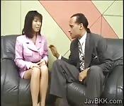 Petite Japanese reporter swallows cum