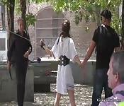 Euro slave in eyeglasses fucks in public
