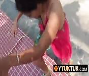 Asian teen cutie feels the hard log