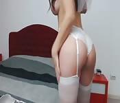 Hot Chick in wedding dress masturbates
