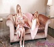 Horny blonde lesbians enjoy shaved pussy