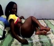 Horny ebony babe does web cam video