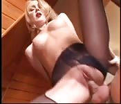 Ripping her stockings open for fun with his cock