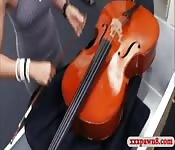 Hot babe sells her Cello and gets fucked