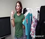 Hot Tits Stepmom Giving Handjob