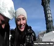Sofia and Angi get frisky outside