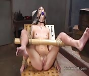 Small tits babe caned and anal fucked
