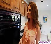 Hairy teen and busty stepmom threesome