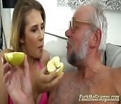 Busty Blonde Babe Loves Mature Cock