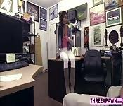 Ebony babe spread legs and rubs pussy
