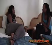 Black lesbians enjoy kissing & foreplay