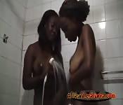 African black lesbian couple in bathroom