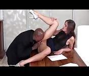 Hot secretary fucked madly by boss