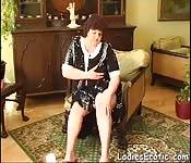Mature granny homemade masturbating