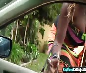 Busty Ebony Whore Rides Fat White Rod
