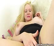 Saucy blonde babe plays