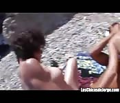 Two whores fucked on the beach