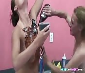 Lesbian Babes Experiment With Food