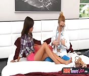 Teen in a first time lesbian experience