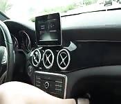 Mutual masturbation in a car.