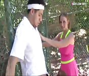 Redhead tennis player boned by the coach