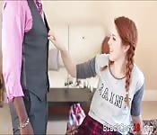 Redhead teen pounded by big black dick