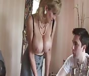 Busty blonde British MILF seduces young dude